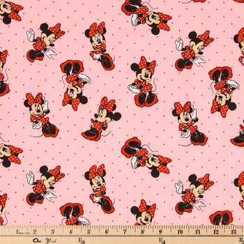 Pink Minnie Mouse Cotton Calico Fabric