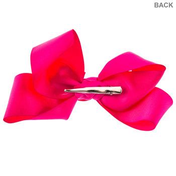 """Hot Pink Grosgrain Bow Hair Clip - 6"""""""