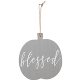 Blessed Pumpkin Wood Ornament