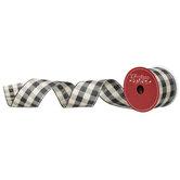 """Black & Natural Buffalo Check Wired Edge Ribbon - 2 1/2"""""""