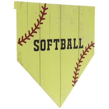 Softball Home Plate Wood Wall Decor