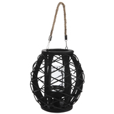 Black Basket With Jar Candle Holder