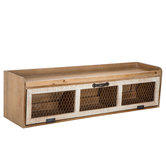 Chicken Wire Wood Wall Shelf With Pull Down Drawer