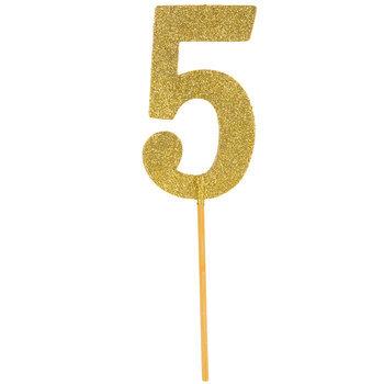 Gold Glitter Number Cake Topper - 5