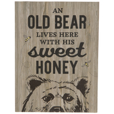Old Bear With His Sweet Honey Wood Decor