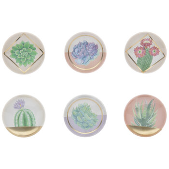 Succulents & Flowers Round Magnets