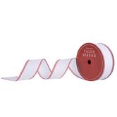 White Glitter Wired Edge Ribbon With Striped Edge