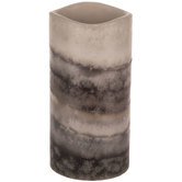 Gray Layered LED Pillar Candle