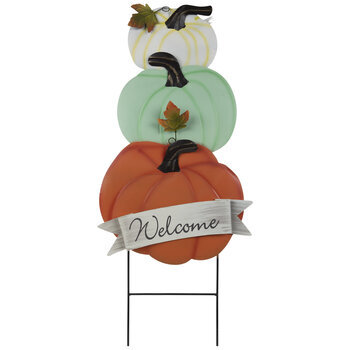 Welcome Pumpkins Metal Garden Stake