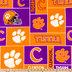 Clemson Block Collegiate Fleece Fabric