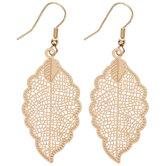 10K Gold Plated Filigree Leaf Earrings
