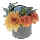 Orange & Blue Floral Arrangement In Bucket