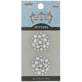 Pearl & Rhinestone Cluster Shank Buttons - 20mm