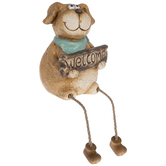 Dog With Welcome Sign Shelf Sitter