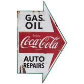 Gas, Coca-Cola & Auto Repairs Arrow Metal Sign