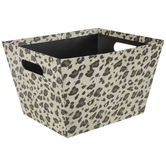 Beige & Brown Leopard Print Container