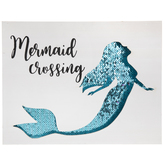 Mermaids Crossing Sequin Wood Wall Decor