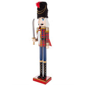 Red Plaid Soldier Wood Nutcracker With Sword