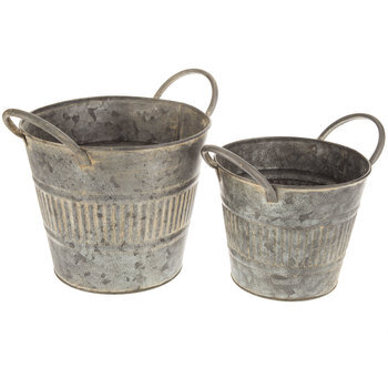 Galvanized Metal Ribbed Container Set