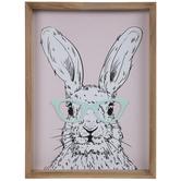 Blue Glasses Bunny Wood Wall Decor