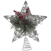 Silver Star Tree Topper With Foliage