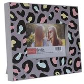 "Multi-Color Leopard Print Wood Frame - 6"" x 4"""