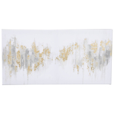 White & Gold Abstract Canvas Wall Decor