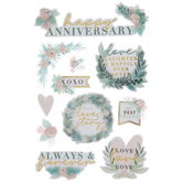 Happy Anniversary Floral 3D Stickers