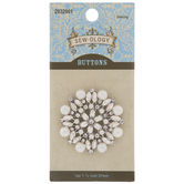 Rhinestone & Plastic Pearl Shank Button - 37mm