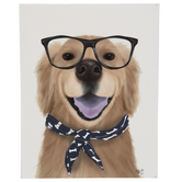 Golden Retriever With Glasses Canvas Wall Decor