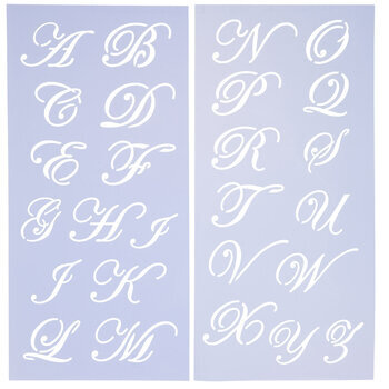 Uppercase Formal Script Alphabet Stencils