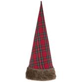 Red & Green Plaid & Faux Fur Cone Tree