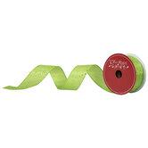 "Lime Confetti Wired Edge Satin Ribbon - 1 1/2"""