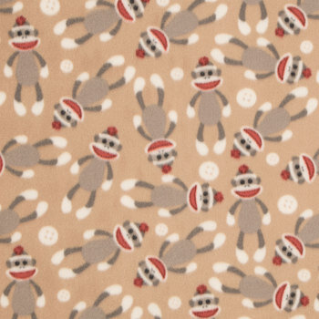 Sock Monkey Anti-Pill Fleece Fabric