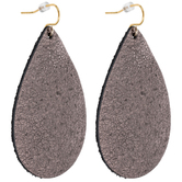 Metallic Suede Teardrop Earrings