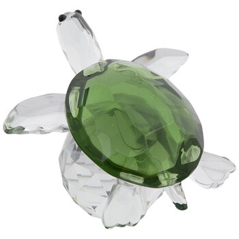 Green Faceted Glass Turtle