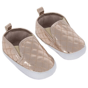 Rose Gold Quilted Infant Shoes - 6-9 Months
