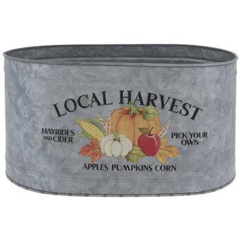 Local Harvest Pumpkins Galvanized Metal Container