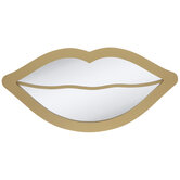 Gold Lips Wood Mirror