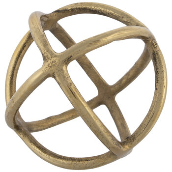 Gold Rings Metal Decorative Sphere - Small