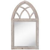 Whitewash Arch Wood Wall Mirror