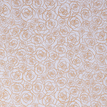 Gold Rose Outline Cotton Apparel Fabric