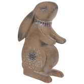 Carved Wood Look Floral Bunny