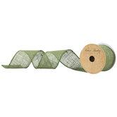 "Moss Green Wired Edge Burlap Ribbon - 2 1/2"""
