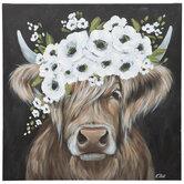 Floral Highland Cow Canvas Wall Decor