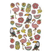 Tropical Birds Foil Puffy Stickers