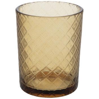 Yellow Diamond Pattern Glass Candle Holder