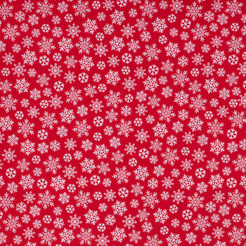 Red & White Snowflake Cotton Apparel Fabric