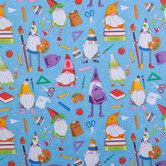 Gnome & School Supplies Cotton Fabric