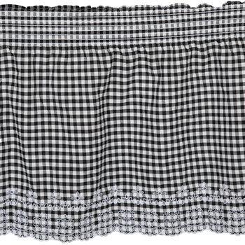 Black & White Gingham Eyelet Cotton Fabric